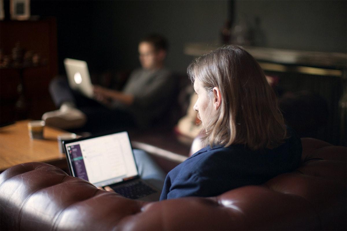 Motley employee on the computer.